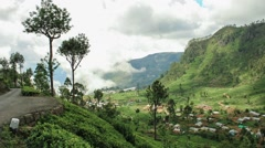 Timelapse of Lipton valley, wide shot on tea plantations in Sri Lanka Stock Footage