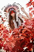 Beautiful girl in a suit of the American Indian Stock Photos