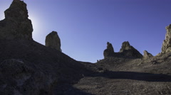 3axis MoCo Time Lapse of Sunrise over Tufa Towers in Trona Pinnacles -Long Shot- Stock Footage