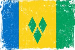 Saint Vincent and the Grenadines Vector Flag on White Stock Illustration