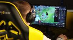 Gamer playing in Dota-2 on Na`Vi teams bootcamp Stock Footage