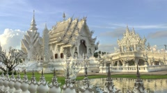 Timelapse of White temple Wat Rong Khun in Thailand Stock Footage