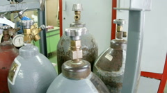 Gas cylinders at the plant. - stock footage