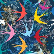 Graphic seamless pattern with colorful swallows - stock illustration