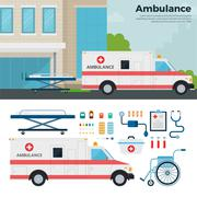 Ambulance car on the street in city - stock illustration