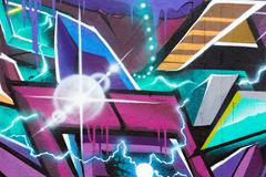 Stock Illustration of multi colored graffiti wall