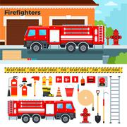 Fire-engine waiting on the street Stock Illustration