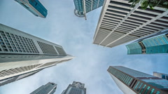 Low angle view of Banks and Commercial buildings in Central Business District Stock Footage