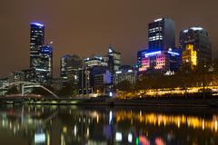 Melbourne skyline view over the Yarra River Stock Photos