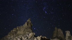 2axis MoCo Astro Time Lapse of Constellation Orion over Tufa Towers  - stock footage