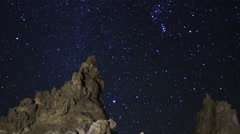 2axis MoCo Astro Time Lapse of Constellation Orion over Tufa Towers -Long Shot- - stock footage