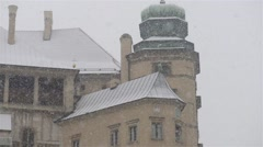 Winter snow in Wawel in Krakow, Poland Stock Footage