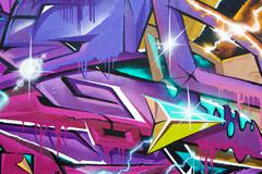 Fragment of colorful graffiti Stock Illustration