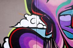 multi colored graffiti wall - stock illustration