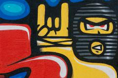 fragment of the colorful graffiti wall - stock illustration