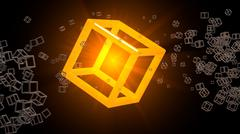 Glowing cube floating in abstract space. Many small objects around. Three-dim Stock Illustration
