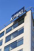 PRAGUE, CZECH REPUBLIC - MARCH 31: Professional service company KPMG logo on Kuvituskuvat