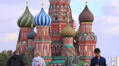 St Basil's Church from Red Square, panorama, Moscow, Russia Stock Footage