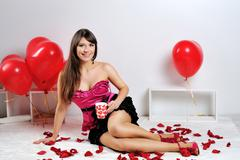 Valentines day woman and cup Stock Photos