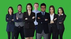 Young diverse business people standing together. portrait of multi ethnic team Stock Footage