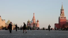 panorama of Red Square in the evening, St Basil's Church, Moscow, Russia - stock footage