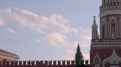Red Square, Clouds over Nikolskaya Tower, Moscow, Russia Stock Footage