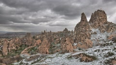 Timelapse of Uchisar Castle in Cappadocia under the snow, Turkey Stock Footage