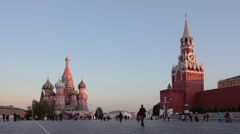 Panorama of Red Square in the evening, Moscow, Russia Stock Footage