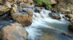 Fast motion timelapse video of large rocks in a river Stock Footage