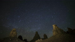 Astrophotography Time Lapse of Milky Way Rising over Trona Pinnacles -Tilt Up- - stock footage