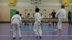 Kids karate exam, children pass the exam in Karate Stock Footage