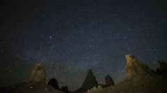 Astrophotography Time Lapse of Milky Way Rising over Trona Pinnacles -Pan Right- - stock footage