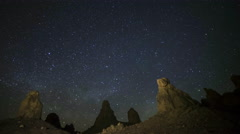 Astrophotography Time Lapse of Milky Way Rising over Trona Pinnacles -Pan Left- - stock footage