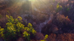 Sunrise in the secret valley of the misty river Stock Footage