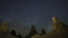 Astrophotography Time Lapse of Milky Way Rising over Trona Pinnacles -Zoom Out- - stock footage