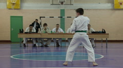 Boy pass the exam in Karate Stock Footage