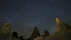 Astrophotography Time Lapse of Milky Way Rising over Trona Pinnacles -Long Shot- - stock footage