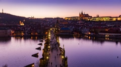 4k timelapse, panoramic view on Prague from Staromestska tower, Czech Republic Stock Footage
