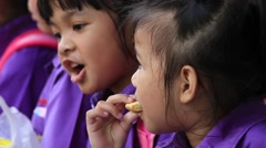 Young spectators came to watch the show in Safari World. Bangkok, Thailand - stock footage