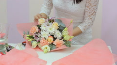 Florist Collect Beautiful Bouquet Of Flowers Stock Footage