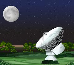 Satellite on the ground at night - stock illustration