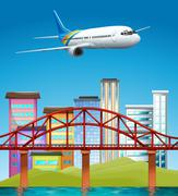 Airplane flying over buildings - stock illustration