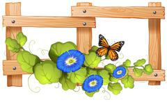 Fence design with plant and butterfly - stock illustration