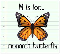 Flashcard letter M is for monarch butterfly Stock Illustration
