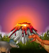 Two dinosaurs living by the volcano - stock illustration
