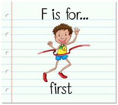 Flashcard letter F is for first Stock Illustration