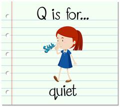 Flashcard letter Q is for quiet Stock Illustration