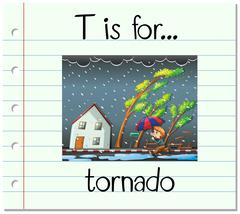 Flashcard letter T is for tornado Stock Illustration