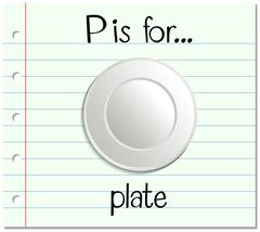 Flashcard letter P is for plate - stock illustration