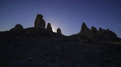 Time Lapse of Sunrise over Tufa Towers at Trona Pinnacles -Zoom In- - stock footage